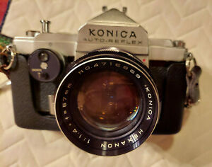 Konica AutoReflex 35mm, Hexanon lens 1.4f 57mm, case, cap, film