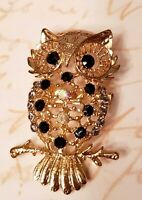 Beautiful Gold Tone Black & Iridescent Rhinestone Gemstone Owl Branch Brooch Pin