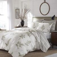 Luxurious 100% Cotton Floral Stripes Reversible 3 pcs King Queen Comforter Set