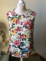 JOULES Floral Mix Sleeveless Shirt Blouse Top Size 10 Summer Office Business