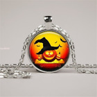 """HALLOWEEN PUMPKIN charm pendant Sterling Silver 925 20"""" necklace female gift"""