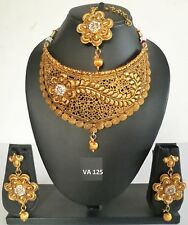 Indian Traditional Wedding Pearl CZ Kundan Jewelry Fashion Necklace Earring Sets