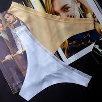 Mujeres Ropa interior sin costuras Color solido Ice Bragas de seda Tanga briefs