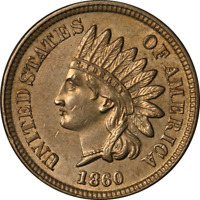 1860 Indian Cent Pointed Bust Nice BU Great Eye Appeal Strong Strike