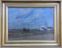 Feldarbeit mit Pferden und Bauer - Vorfrühlings Landschaft TH Monogramm 34 x 44