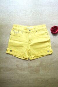 Short jean jaune strass vintage taille haute femme taille 38