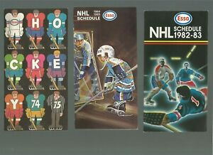 6 ESSO NHL SCHEDULES FROM THE 70s and 80s, IN EX PLUS TO EX-MT SHAPE