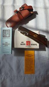 Early Vintage Al-Mar Folding Knife, Gunstock 8501, Mint in box with Sheath.