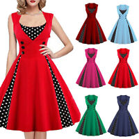 Women Solid Polka Dot Pinup Dress Rockabilly Oversize Party Evening Swing Dress