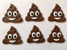 6 Emoji Poop Handmade Edible Sugarpaste Sugar Cupcake Toppers Decorations