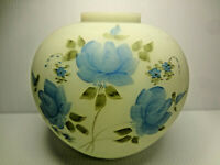"Fenton Blue Satin Custard Glass Ginger Jar Hand Painted ""Blue Rose"" Signed"