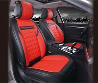 UNIVERSAL FRONT RED BLACK PU LEATHER SEAT COVERS CAR VAN MOTORHOME BUS MPV TRUCK