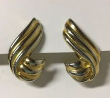 Gold Silver Tone Swirl Chunky Statement Vintage Clip on Earrings Retro Mod