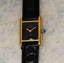 Must de Cartier Tank Vermeil 925 Ladies Quartz Black Dial Manual Wind