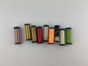 Lot Of 9 Kreinik Metallic Thread Floss Cross Stitch Bleding Filament #8 #4 Braid