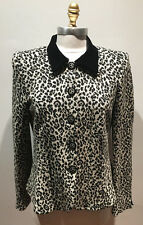 ARMANI Black and White Leopard Print Knit Button Up Sweater Jacket