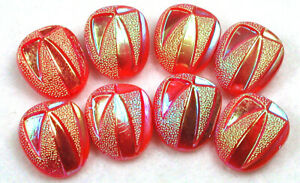 """Vintage Glass Button Set of 8  Fun color with Ieridescent Luster 9/16"""""""