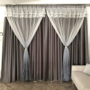 Gradient Valance Curtains Blackout Blinds Double Layer Drape Living Room Home