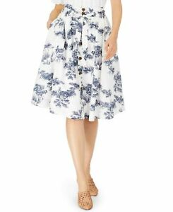 INC Womens A-Line Skirt White US Size XL Button-Front Tie-Waist printed $79 465