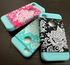 For iPhone 4 4S - Hard & Soft Rubber Hybrid Armor High Impact Case Flower Roses