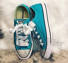 Swarovski Element CONVERSE-Turquoise Low Top Chuck Taylor All Star Women's 8