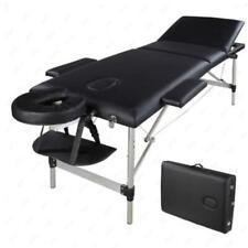 Portable Aluminum 3 Fold Massage Table Facial Spa Bed Tattoo W Carry Case Black