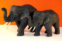 Holz Elefant geschnitzt Teak Massivholz Elefanten Figur aus Thailand Schnitzerei