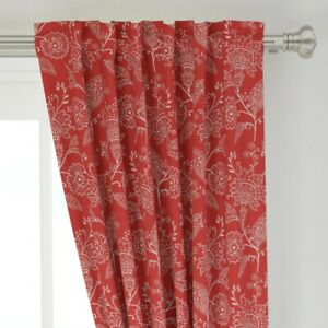 """Crewel Work Country Floral Jacobean 50"""" Wide Curtain Panel by Roostery"""