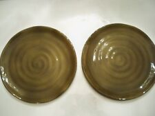 2 CABERNET DINNER PLATES 11 1/4' EACH TABLETOPS UNLIMITED HANDPAINTED GREEN
