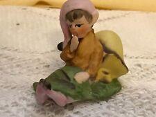 Vintage Josef Originals Little Pixie Elf Figurine Mushroom Leaf Rare 700