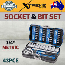 Kincrome Hand Tools Lok-on 43pce 1/4in Metric Socket and Bit Set With Case
