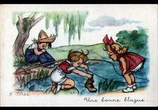 BLAGUE d'ENFANT à la PECHE à la ligne , illustrée par J. IDRAC