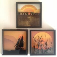 VINTAGE 1974 MODERNIST VIRGIL THRASHER PAINTED GLASS 3D SHADOW BOX ART - 3PC SET