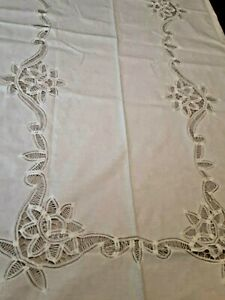 """New White Embroidered Lace 106x70"""" Oblong Tablecloth w/12 16"""" Matching Napkins"""