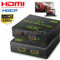 HDMI Splitter 1 In 2 Out - Aluminum 4K Signal V1 4 Powered HDCP