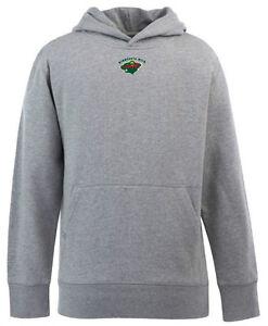 NEW Minnesota Wild YOUTH Boys Signature Hooded Sweatshirt - Gray - Kids YL