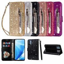 Glitter Zipper Wallet Card Case Stand Cover For iPhone 6 7 8 11 12 Mini SE XR XS