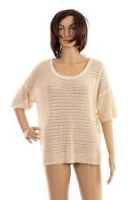 Vero Moda Size L Cream Fine Knitted Floral Lace Back Short Sleeve Jumper Ladies