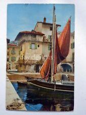 LAGO di GARDA barca vela pescatori Brescia vecchia cartolina 1815