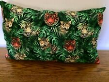 18x10 Travel Pillow Tigers & Snow Leopards Green background Rear Black  New USA