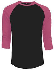 3/4 Sleeve Plain Baseball Raglan T-Shirt Tee Mens Sports Jersey Black Pink S