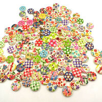 Neu 100 Mix Knöpfe Buttons 2 Löcher  Muster 15mm