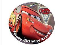 EDIBLE PERSONALISED DISNEY/PIXAR CARS 3 ROUND CAKE TOPPER