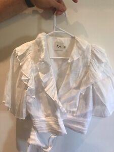 AJE white wrap blouse 6