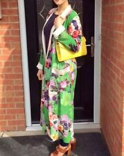 Zara Long Green Floral Kimono Dress  Duster Jacket GENUINE S Bloggers Fave SS17
