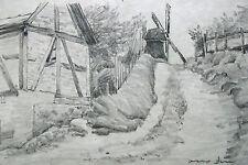 Otto Dill 1884-1957 Bad Dürkheim Neustadt / Zeichnung / Dorfweg mit Windmühle
