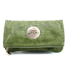 New Women's Handbag Croco Faux Leather Fold-over Clutch Bag Medium Purse Green