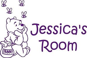 Winnie the Pooh Personalised Name Sticker/Decal Wall/Door/Room Any Colour Disney