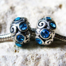 2PCs Turquois Blue Crystal Beads For European Charm Bracelets - March Birthstone