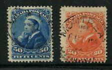 CANADA 1893 QV WIDOW 20c + 50c FINE USED SG115-116...cv £110
